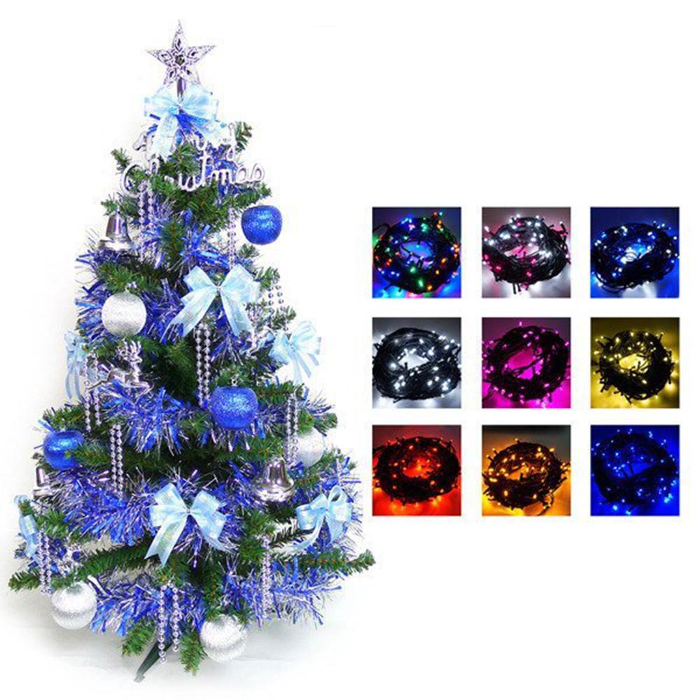 幸福3尺一般型裝飾綠聖誕樹(藍銀色系+100燈LED燈串一條)含跳機控制器