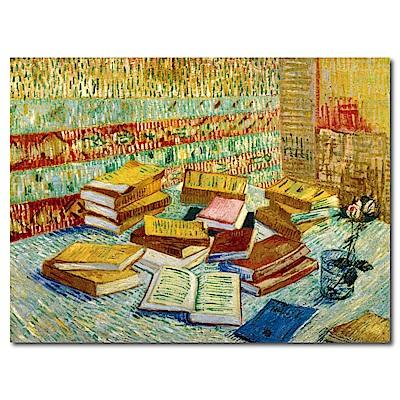 橙品油畫布-單聯式橫幅 掛畫無框畫-讀書-40x30cm