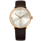 CK 礦石強化玻璃 瑞士製造 皮革手錶-銀x玫瑰金框x咖啡/40mm
