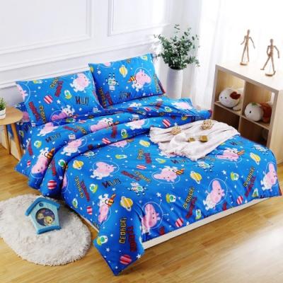Peppa Pig  太空喬治  雙人3M吸濕排汗專利技術親膚舒柔床包枕套三件組