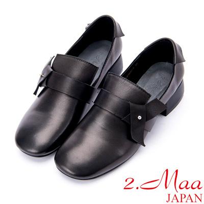 2.Maa 素面牛皮小方頭粗跟包鞋 - 純黑