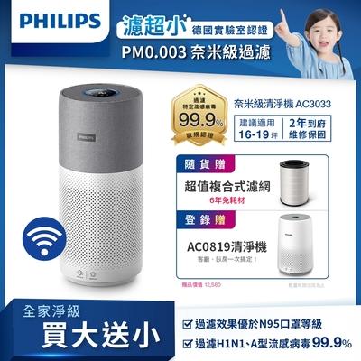 飛利浦PHILIPS 奈米級空氣清淨機 AC3033/83 抗病毒首選