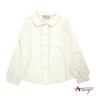 Annys安妮公主-氣質典雅蕾絲邊晶亮排扣秋冬款長袖襯衫*8268白色