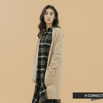H:CONNECT 韓國品牌 女裝-開襟雙口袋針織外套-卡其