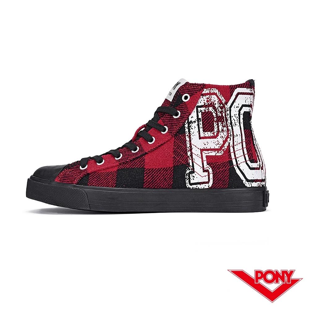 【PONY】Shooter系列蘇格蘭格紋時尚百搭帆布鞋 休閒鞋 紅黑