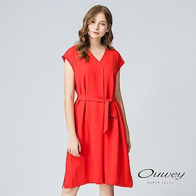 OUWEY歐薇 都會質感簡約綁帶洋裝(黑/紅)