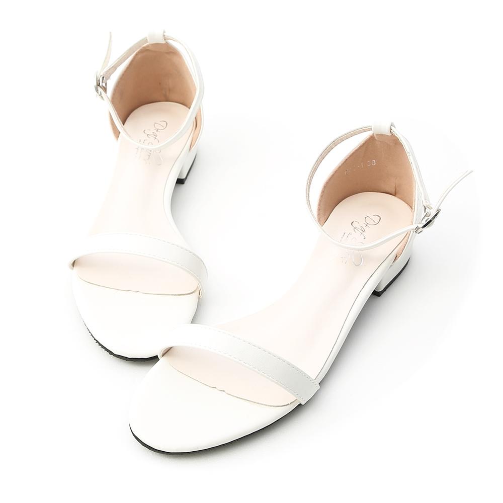 D+AF 簡約美學.一字繫踝低跟涼鞋*白