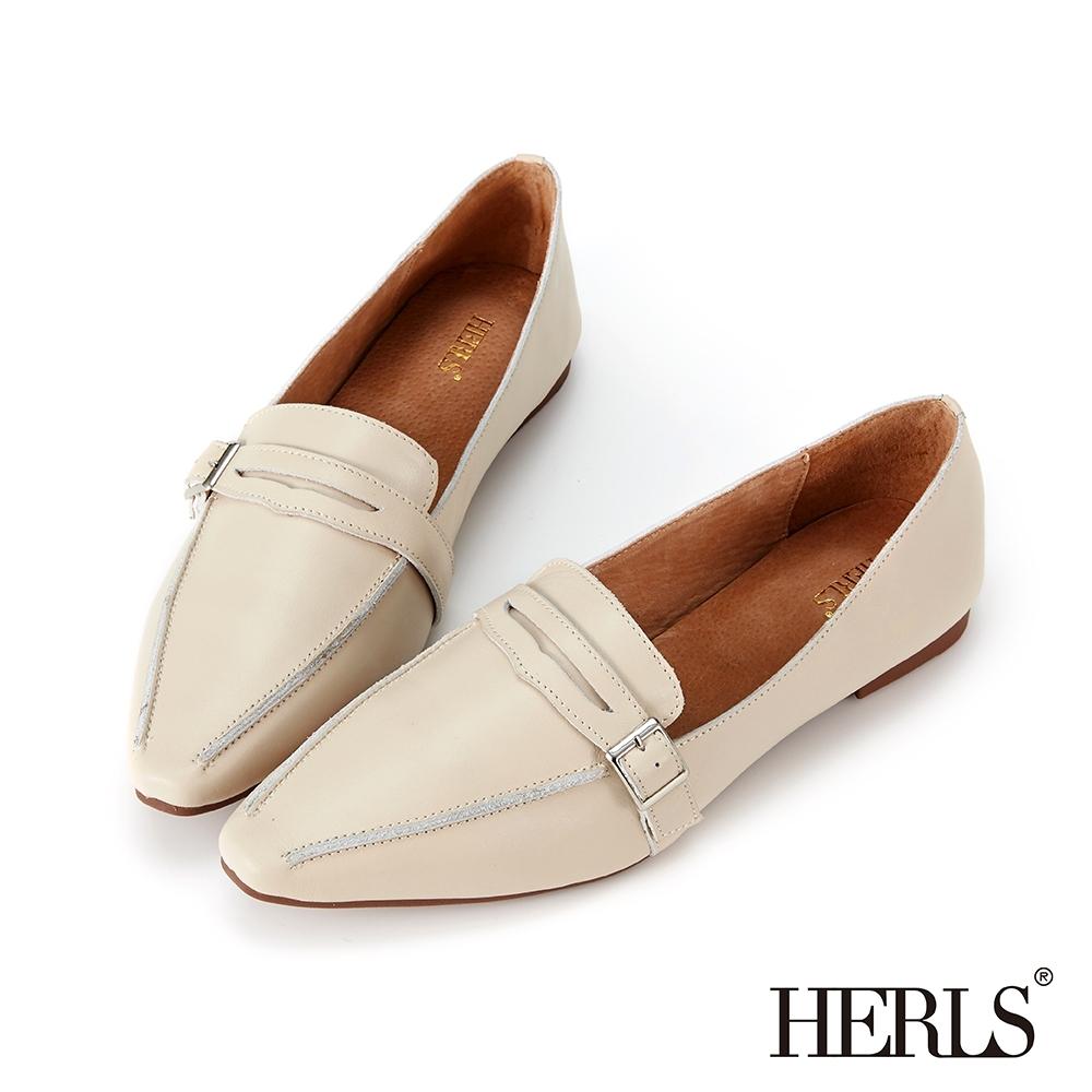 HERLS樂福鞋 全真皮便仕方釦平底樂福鞋 米色