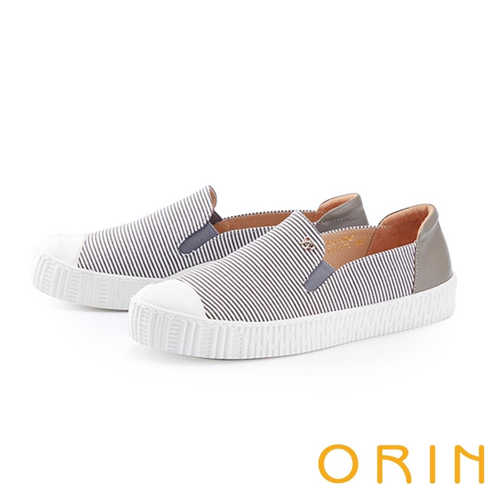 ORIN 個性條紋拼接厚底 女 休閒鞋 灰色