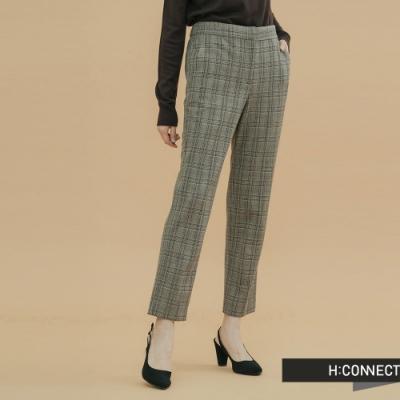 H:CONNECT 韓國品牌 女裝- 知性格紋西裝褲-卡其