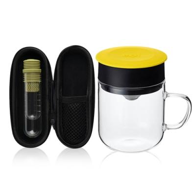 【PO:Selected】丹麥咖啡泡茶兩件組 (咖啡玻璃杯240ml-黃/試管茶格-綠)