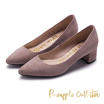 Pineapple Outfitter 時髦舒適感 麂皮尖頭粗跟鞋-絨灰