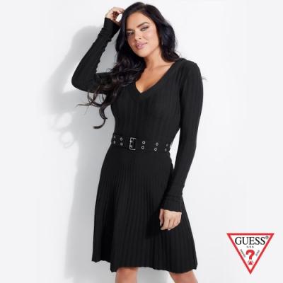 GUESS-女裝-針織V領連身洋裝-黑