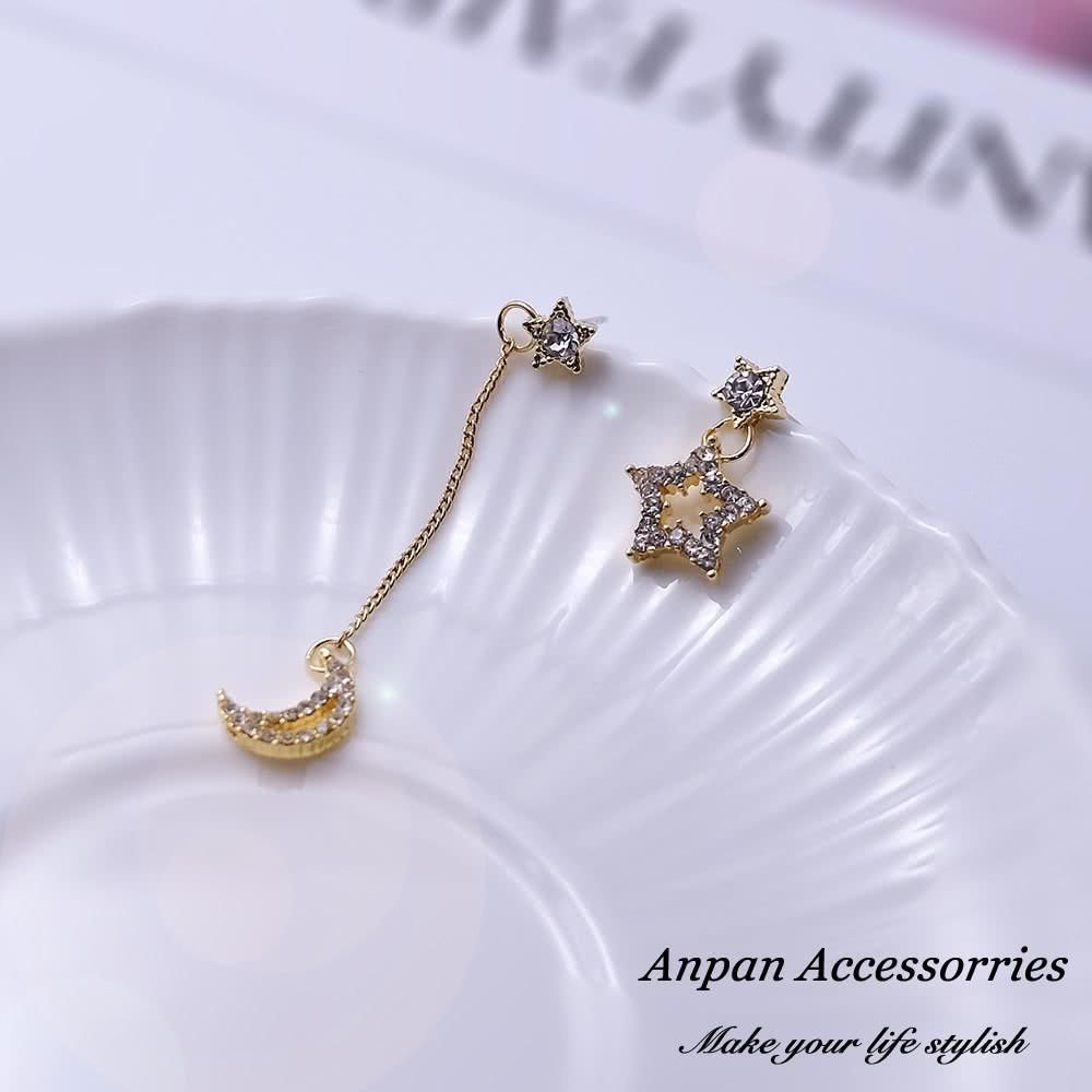 【Anpan 愛扮】韓東大門NYU不對稱垂墜月亮星星925銀針耳釘式耳環