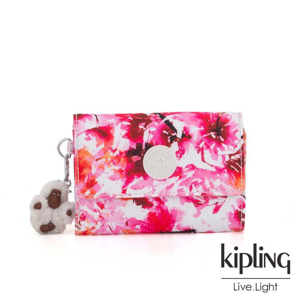 Kipling 絢麗水彩花卉暗釦翻蓋多夾層短夾-PIXI