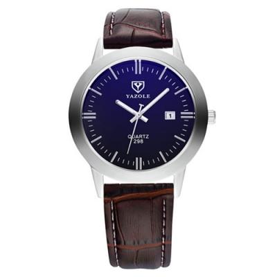 YAZOLE 亞卓倫298-深藍優雅-輕量潮流日曆商務手錶