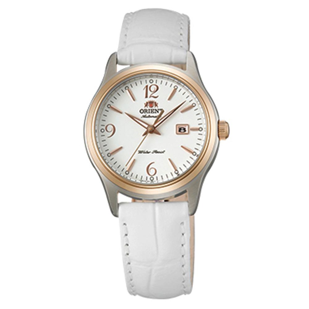ORIENT東方錶  優雅經典手動上鍊女錶皮帶(FNR1Q003W0)-白x30mm