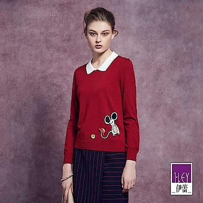 ILEY伊蕾 俏皮圖案緹織裝飾針織上衣(紅)