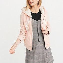 麋鹿 AF A&F 經典刺繡文字厚鋪毛保暖連帽外套(女)-粉色