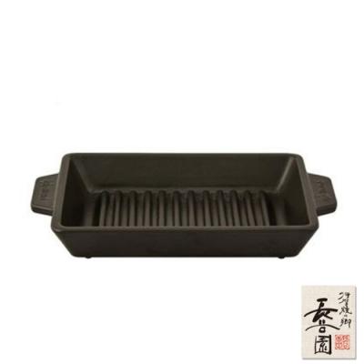 日本長谷園伊賀燒 黑釉長型烤盤