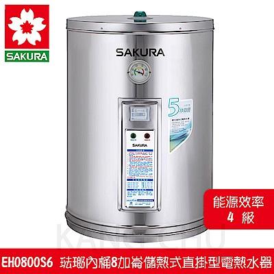 櫻花牌 EH0800S6 琺瑯內桶8加崙儲熱式直掛型電熱水器
