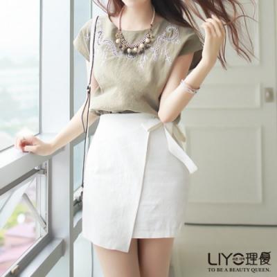 LIYO理優斜邊綁帶短裙623010