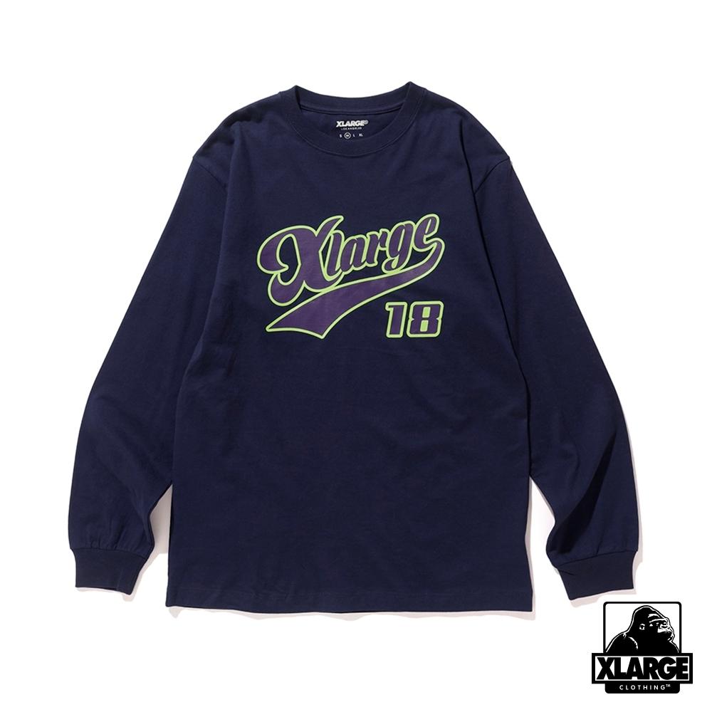 XLARGE L/S TEE XLARGE 18長袖T恤-深藍