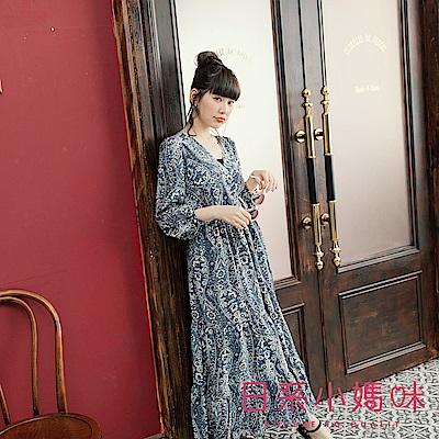 日系小媽咪孕婦裝-孕婦裝 清麗千枝花圖騰洋裝