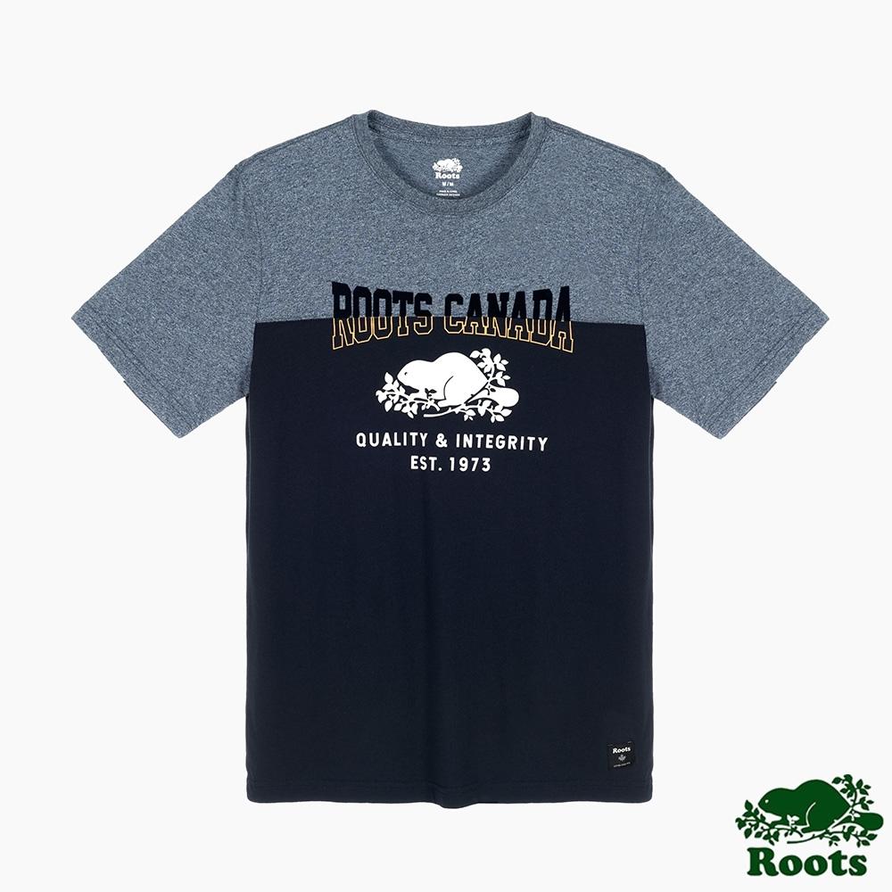 Roots男裝-椒鹽灰系列 經典LOGO撞色短袖T恤-藍色