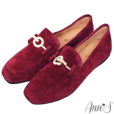Ann'S爬枕頭山-訂製環扣全真皮懶人舒適平底紳士鞋-紅
