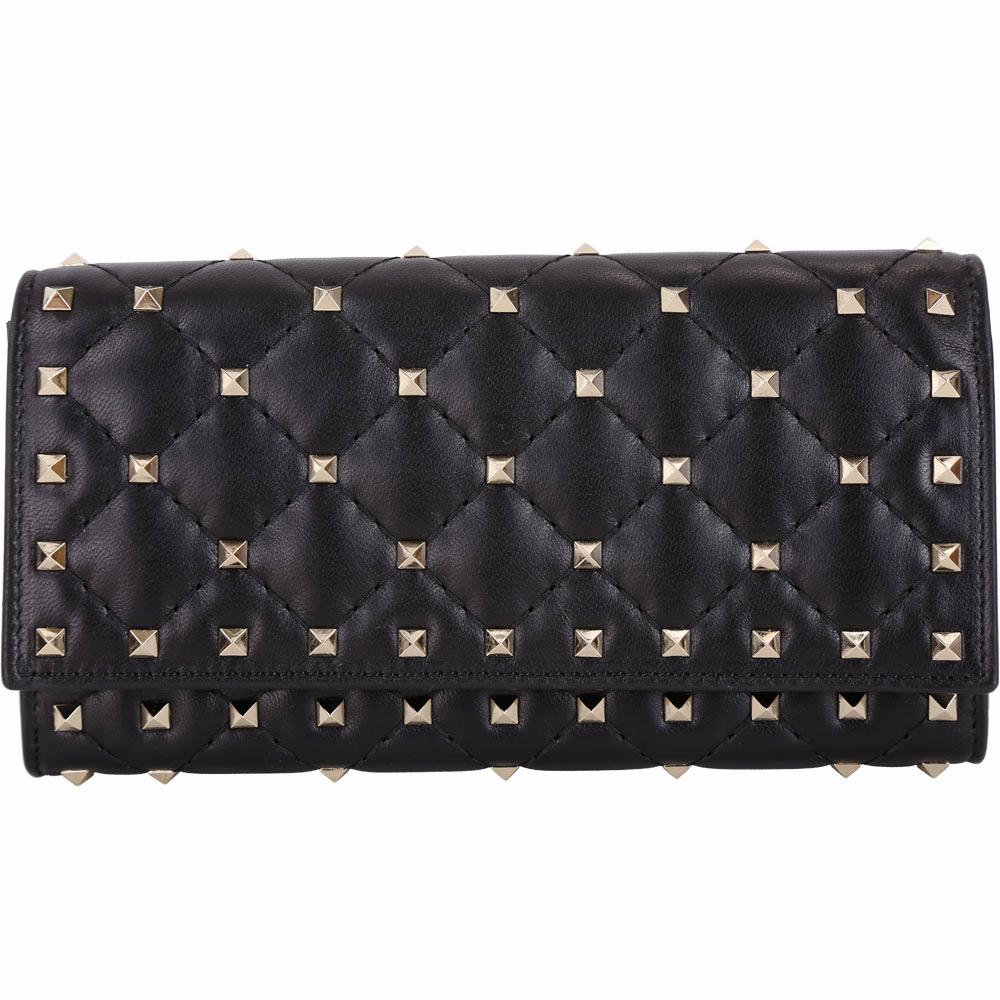 VALENTINO Rockstud Spike 黑色絎縫小羊皮菱格鉚釘釦式長夾