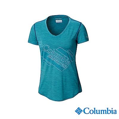 Columbia 哥倫比亞女款-野跑UPF15快排短袖上衣-孔雀藍UAR26590