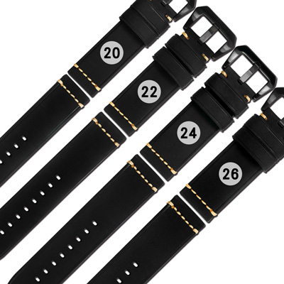 Watchband / 各品牌通用百搭款經典復刻厚實柔軟牛皮錶帶-黑色