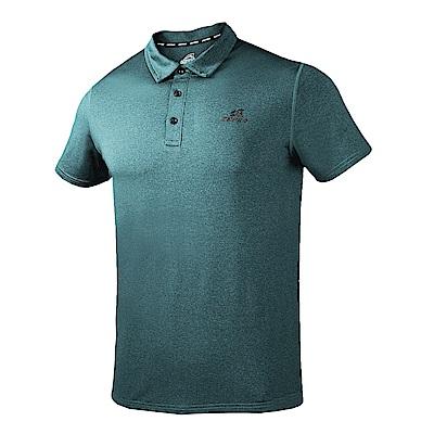 【ZEPRO】男子素面壓紋運動休閒POLO上衣-藍綠