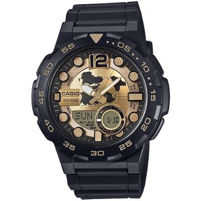 CASIO 赤誠者世界個性地圖雙顯錶-金(AEQ-100BW-9A)/33mm