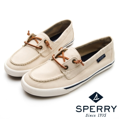 SPERRY 經典水洗無綁帶休閒鞋(女)-米白