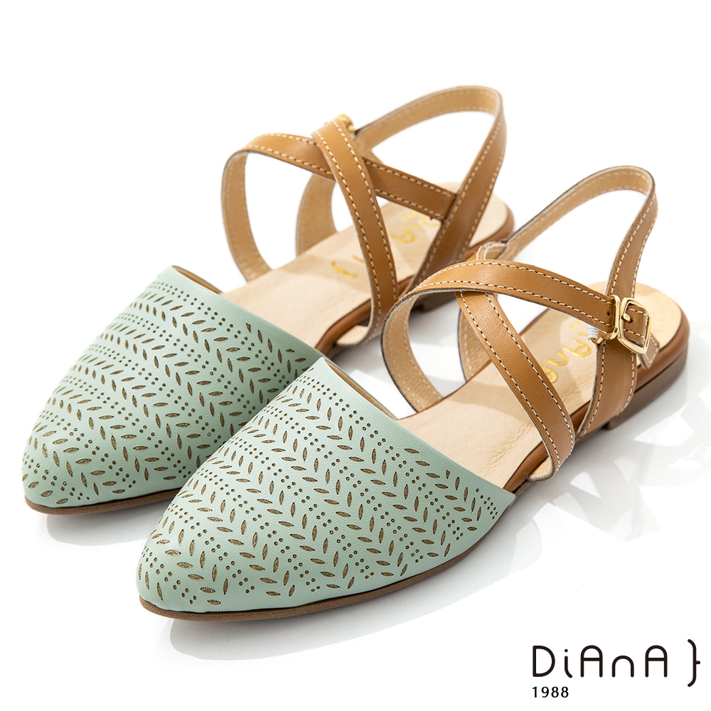 DIANA 1.5cm質感牛皮沖孔圖形穆勒涼鞋-夏日風情-湖水綠