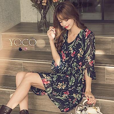 東京著衣-yoco 浪漫度假縮口綁帶碎花洋裝-S.M.L(共二色)