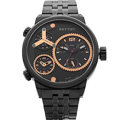 RHYTHM日本麗聲 三地時區石英手錶-黑/48mm SI1610S04