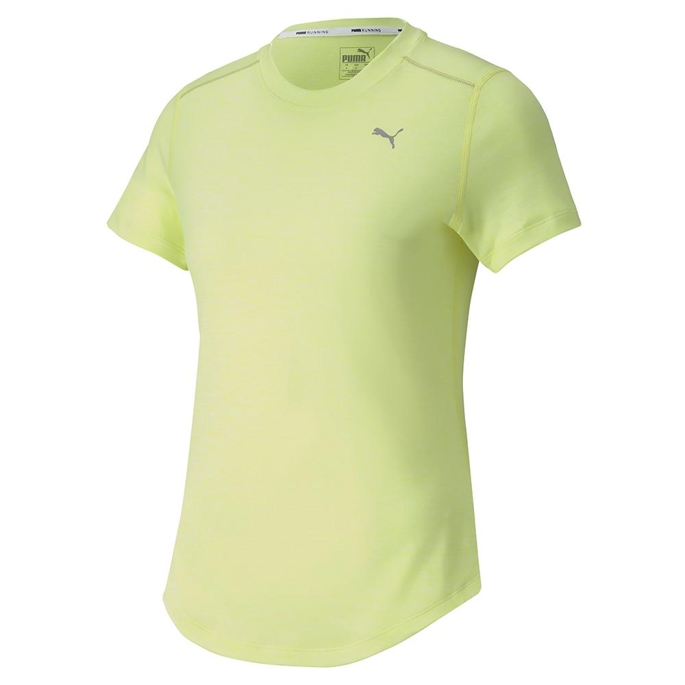 PUMA-女性慢跑系列麻花短袖T恤-陽光綠(麻花)-歐規