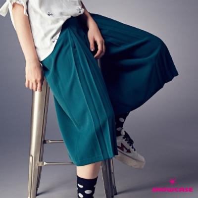 【SHOWCASE】雪紡打褶鬆緊腰寬褲-綠