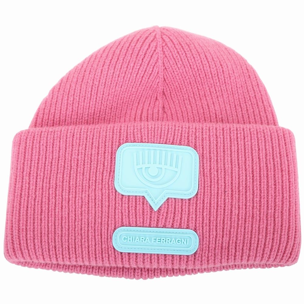 Chiara Ferragni eyelike 眨眼矽膠標誌美麗諾針織羊毛帽(粉色)