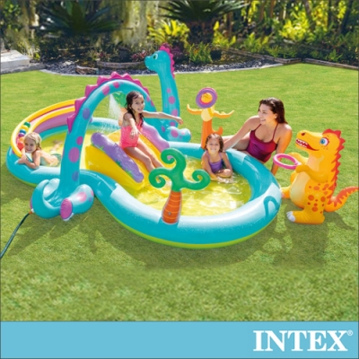 INTEX 恐龍遊樂園大型戲水池302x229x112x深14cm(290L)適2歲以上(57135)