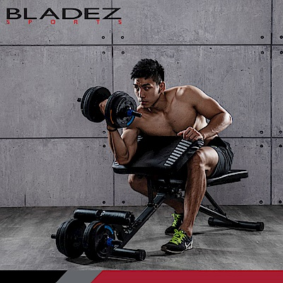 【BLADEZ】重訓發燒-BW13-3.0可變式二頭彎舉臥推重訓椅+BD1-30KG槓啞鈴兩用組