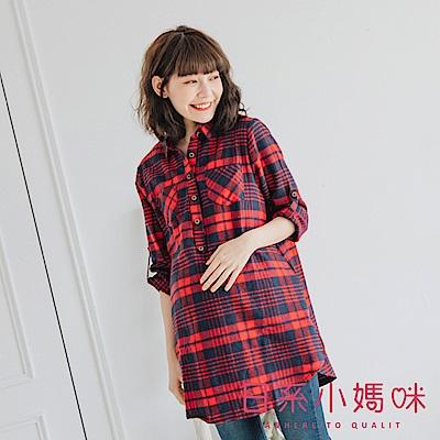 日系小媽咪孕婦裝-哺乳衣~英倫風配色格紋襯衫上衣 M-L