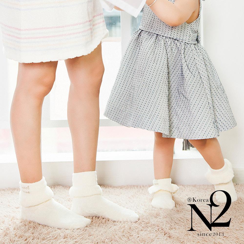 襪子 日系羽毛紗花邊繡字親子襪(淺藍色) N2
