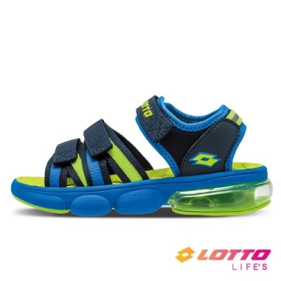 LOTTO 義大利 童鞋 織帶氣墊涼鞋(藍)