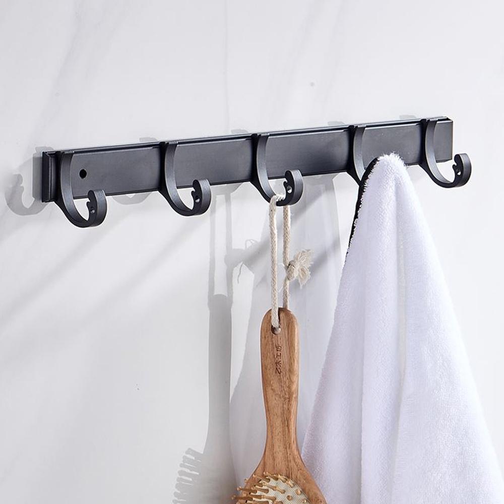 AA097 免打孔 太空鋁可移動式5連掛勾 黑色 無痕免釘 掛衣勾 排衣鉤 浴室掛衣勾