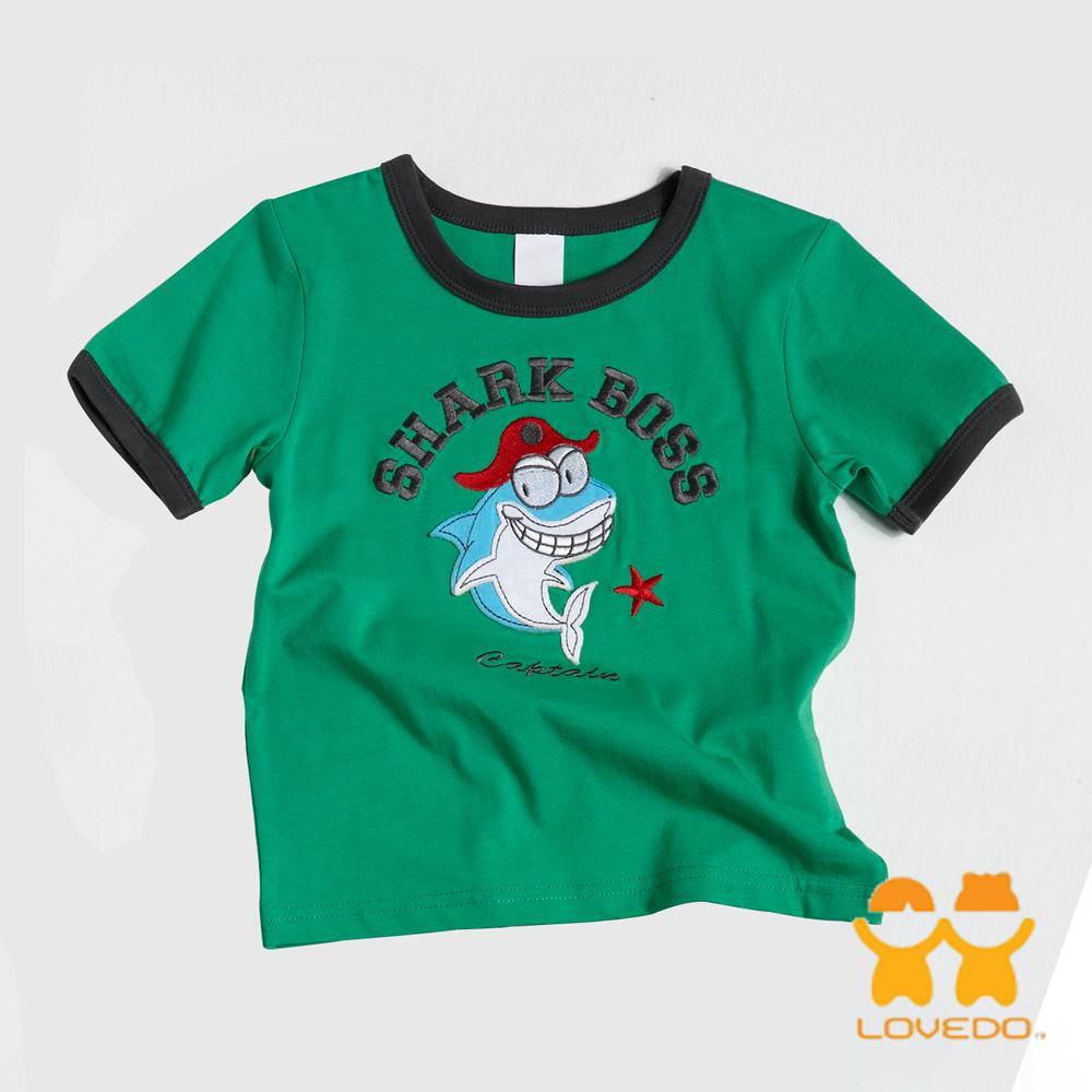 【LOVEDO-艾唯多童裝】威猛鯊魚王 拼布短袖T恤 (綠)