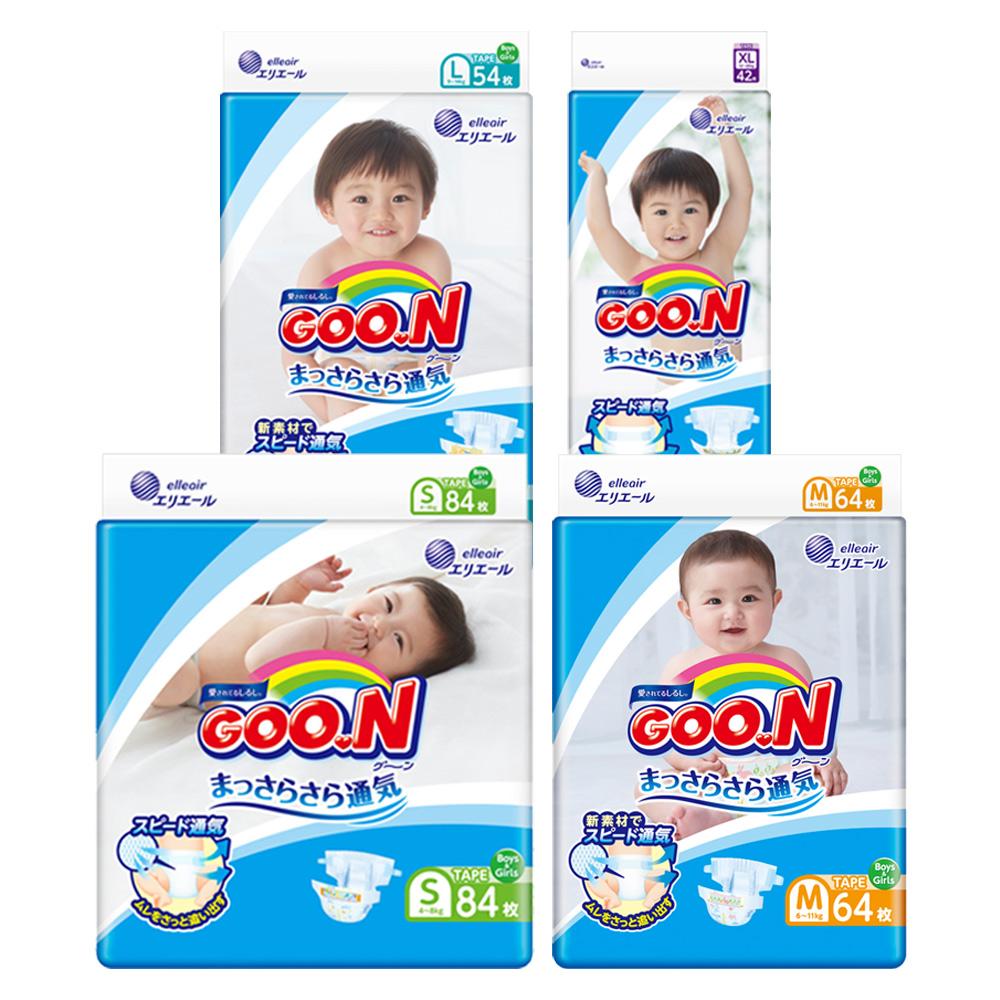 GOO.N日本大王 日本境內版-黏貼型紙尿褲4包/箱-透氣舒柔(尺寸可選)